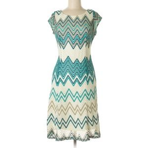 SHARAGANO Chevron Short Sleeve Lace A-Line Dress